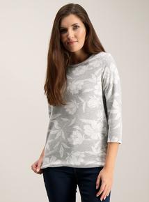 Grey Floral Jacquard Top
