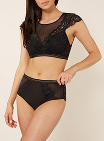 Black Lace Plunge Bra Top