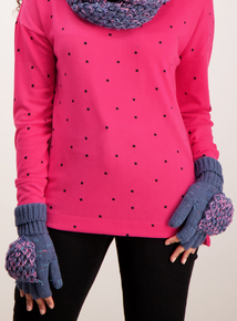 Blue Twist Knit Mittens