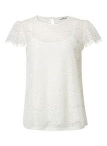 White Two Part Lace Short Sleeve Top
