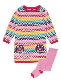 Girls Multicoloured Geometric Owl Dress With Tights (0-24 months)