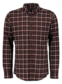 Brown Oxford Regular Fit Checked Shirt