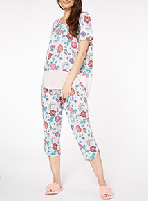 Floral Print Crop PJ Set
