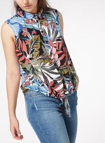 Multicoloured Floral Print Tie Front Shirt
