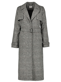 Premium Monochrome Check Trench Coat