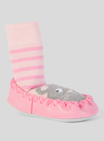 Pink Striped Grey Mouse Moccasin Slipper Socks (3 - 24 months)
