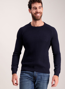 Navy Seed Stitch Crew Neck Knitted Jumper