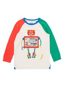 Multicoloured Raglan Sleeve Robot Tee (9 months-6 years)