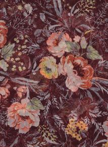 Burgundy Floral Chiffon Scarf