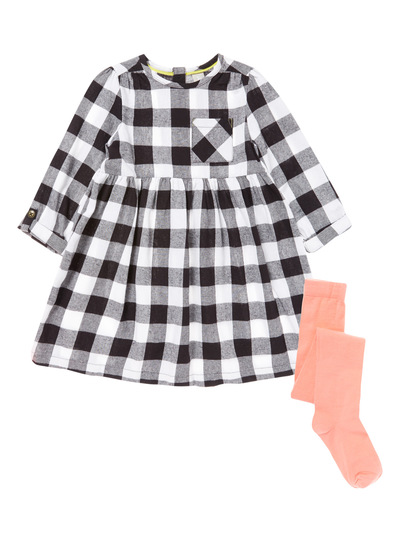 Black Check Dress and Tights Set (9 months-6 years)
