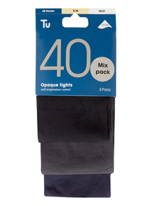 Multicoloured Opaque 40 Denier Tights 3 Pack