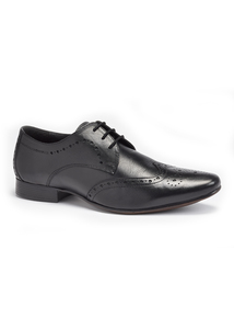 Online Exclusive Sole Comfort Black Leather Brogue Shoes