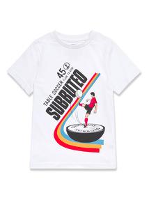 White Football Print T-Shirt (3-14 years)