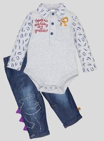 Navy The Graffalo Bodysuit & Jeans Set (0-24 months)