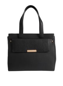 Black Timeless Mock Snakeskin Handbag
