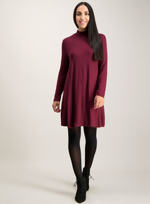 Berry Red Jersey Swing Dress