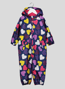Multi-Coloured Heart Print Puddlesuit (9 months - 5 years)