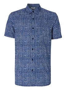Navy Geo Print Slim Fit Shirt