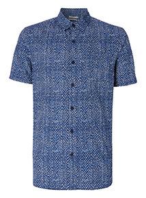 Navy Geometric Print Shirt