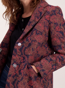 Multicoloured Floral Jacquard Coat