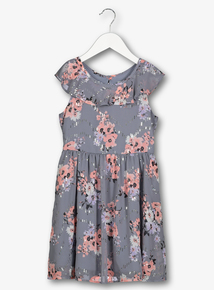 52a43325c930 Grey   Pink Floral Sparkle Georgette Dress (3-14 years)