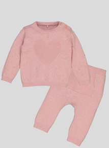 Pink Knitted Heart Jumper & Legging Set (Newborn - 12 months)