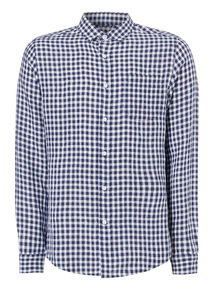 Navy Linen Gingham Shirt