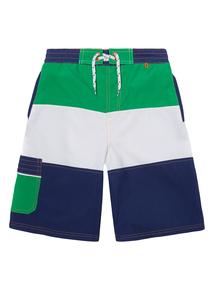 Boys Multicoloured Block Striped Board Shorts (3-12 years)