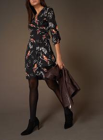 Premium Wrap Front Printed Dress