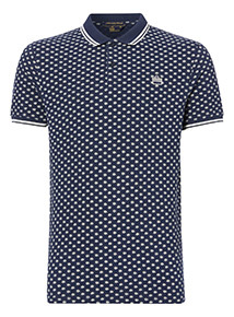Navy Daisy Print Polo Shirt
