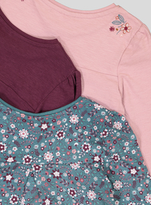 Multicoloured Floral Tops 3 Pack (9 Months - 6 Years)