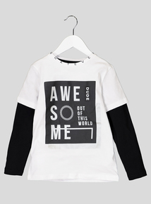 Monochrome Awesome Long Sleeve T-Shirt (3-13 Years)