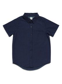 Navy Gingham Print Shirt (3-14 years)