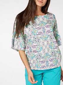 Multicoloured Floral Frill Sleeve Top