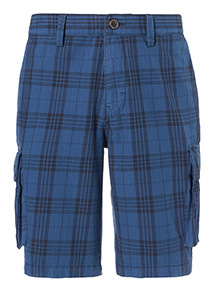Check Twill Cargo Shorts