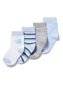 4 Pack Blue Socks (0-24 months)