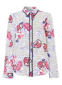 Multicoloured Floral Zig Zag Tipped Blouse