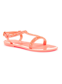 Coral Bling Jelly Sandals