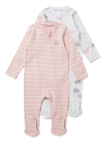 2 Pack Pink Cloud Zip Through Sleepsuits (0-24 months)