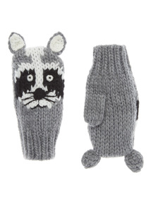 Grey Racoon Knitted Flip Mittens (2-10 years)