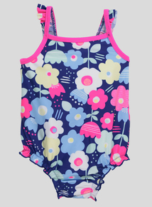Navy Floral Swimming Costume (0-36 months)