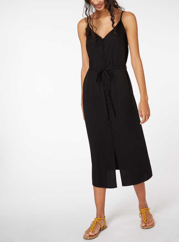 Online Exclusive Black Buttoned Cami Midi Dress