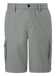 Online Exclusive Green Canvas Cargo Shorts