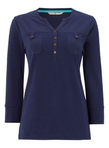 Navy Buttoned Top