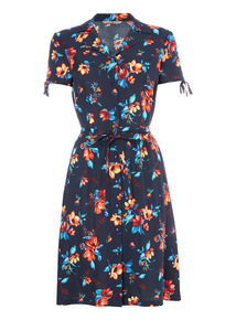 Navy Floral Tea Dress