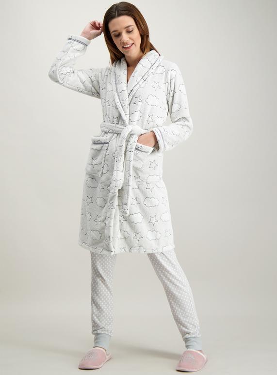 a5577c87ab Womens Grey Cloud Print Dressing Gown