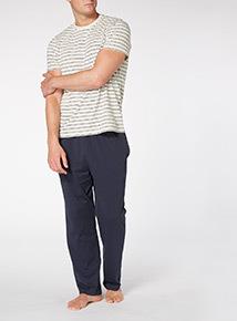 Grey Stripe T-shirt and Bottom Sleep Set