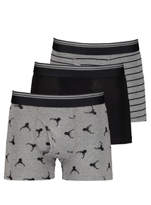 Christmas Black & Grey Trunks 3 Pack