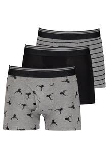 Black & Grey Stag Print Trunks 3 Pack