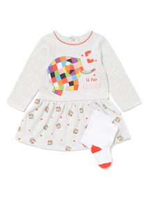 Grey Elmer Sweat Dress and Tights Set (0-24 months)
